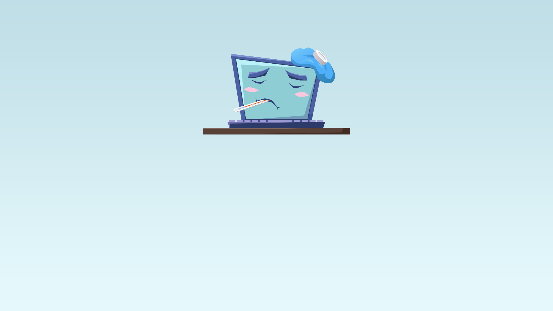 Image of a computer feeling sick showing that the site is not up